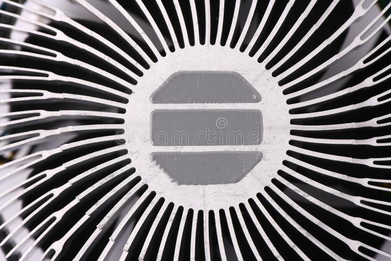 Aluminum radiator with for cooling of computer processor stock photos