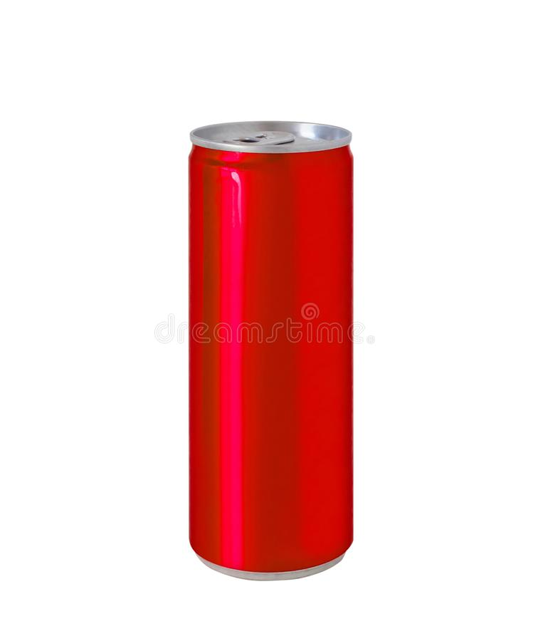 Aluminum red color soft drink soda can isolated on white stock photography