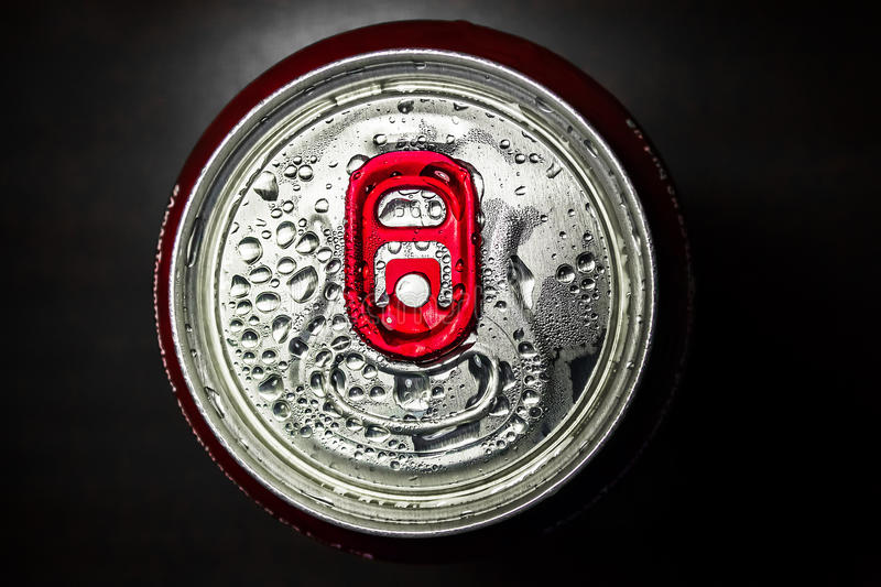 Aluminum red soda can stock images