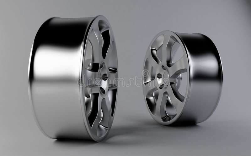 Aluminum rims. 3d render of aluminum rims royalty free illustration