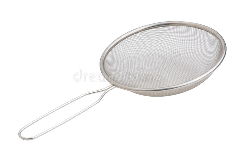 Aluminum sieve. Nice sieve tools to separates coconut and coconut milk from each other or separates liquid and solid royalty free stock photo