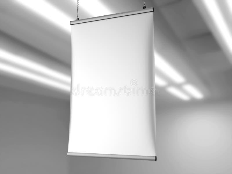 Aluminum snap grip Ceiling Banner poster hanger,Hanging Poster Rails Poster Hanger. 3d render illustration. Aluminum snap grip Ceiling Banner poster hanger vector illustration