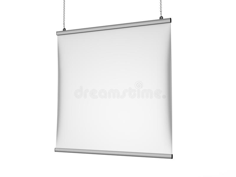 Aluminum snap grip Ceiling Banner poster hanger,Hanging Poster Rails Poster Hanger. 3d render illustration. Aluminum snap grip Ceiling Banner poster hanger royalty free illustration