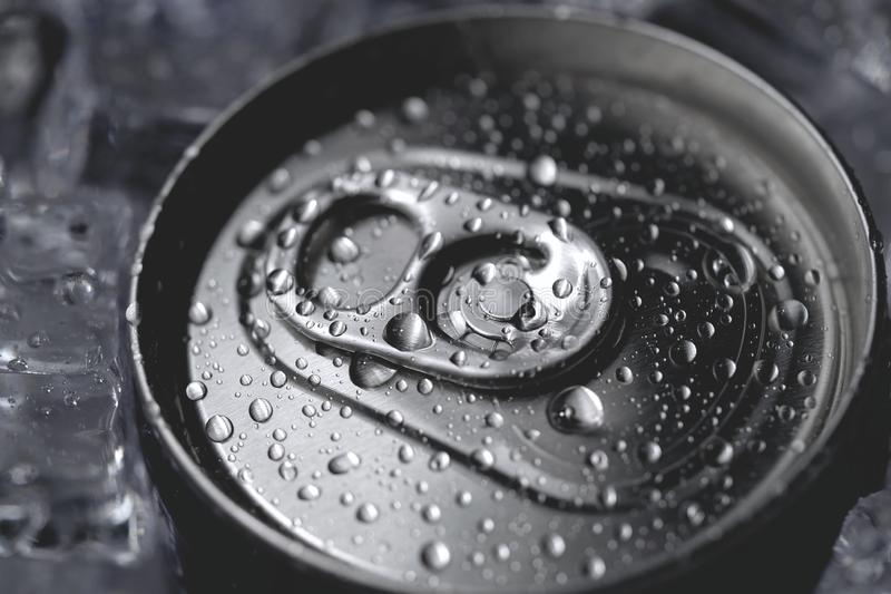 Aluminum soda can lid cover of soft drink and ice. Close-up royalty free stock images