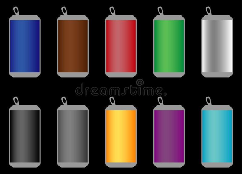 Aluminum sodavattencans av många färger stock illustrationer