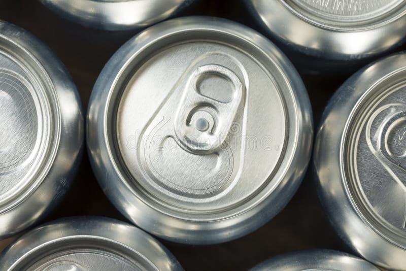 Aluminum sodavattencans för skinande silver royaltyfri foto