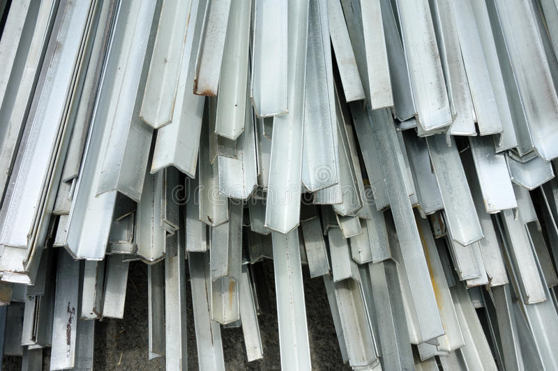 Aluminum. Stacked aluminum on the construction site stock image