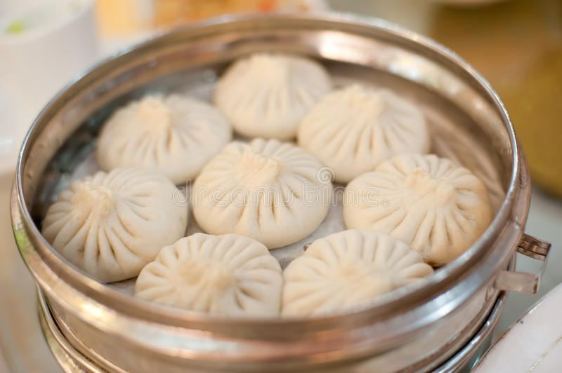 Aluminum steamer put delicious steamed stuffed bun stock images
