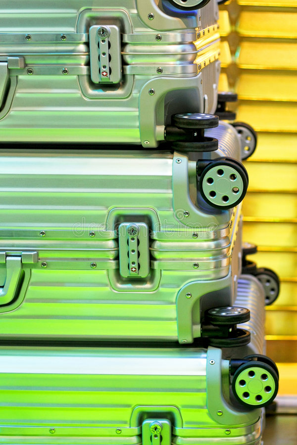 Aluminum Suitcases Royalty Free Stock Photography