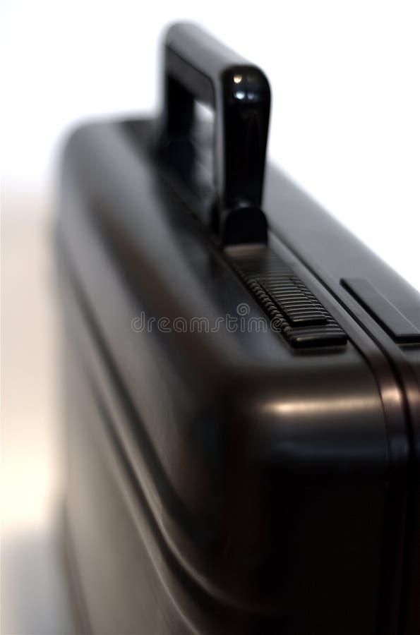 aluminum svart portfölj royaltyfri bild