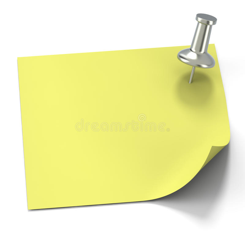 Aluminum tack with yellow post it note stock images
