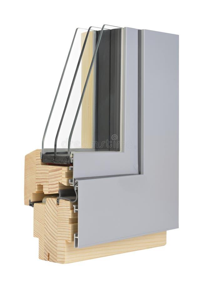 Aluminum/träfönsterprofil arkivbilder