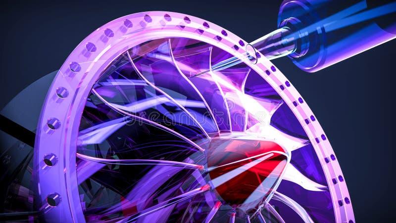 Aluminum turbin för Cnc-malning i maskin för fem axel royaltyfri illustrationer