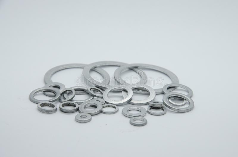 Aluminum washers. Aluminum, washers,washers for carter,screws for car stock photography