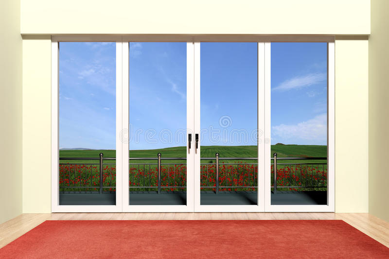 Aluminum window with view stock illustration