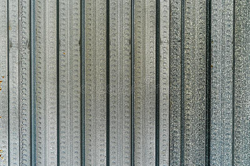 Aluminum Zinc Alloy Silicon Coated Light Steel Texture Background. Fence Roofing and Border Material Surface. royalty free stock photography