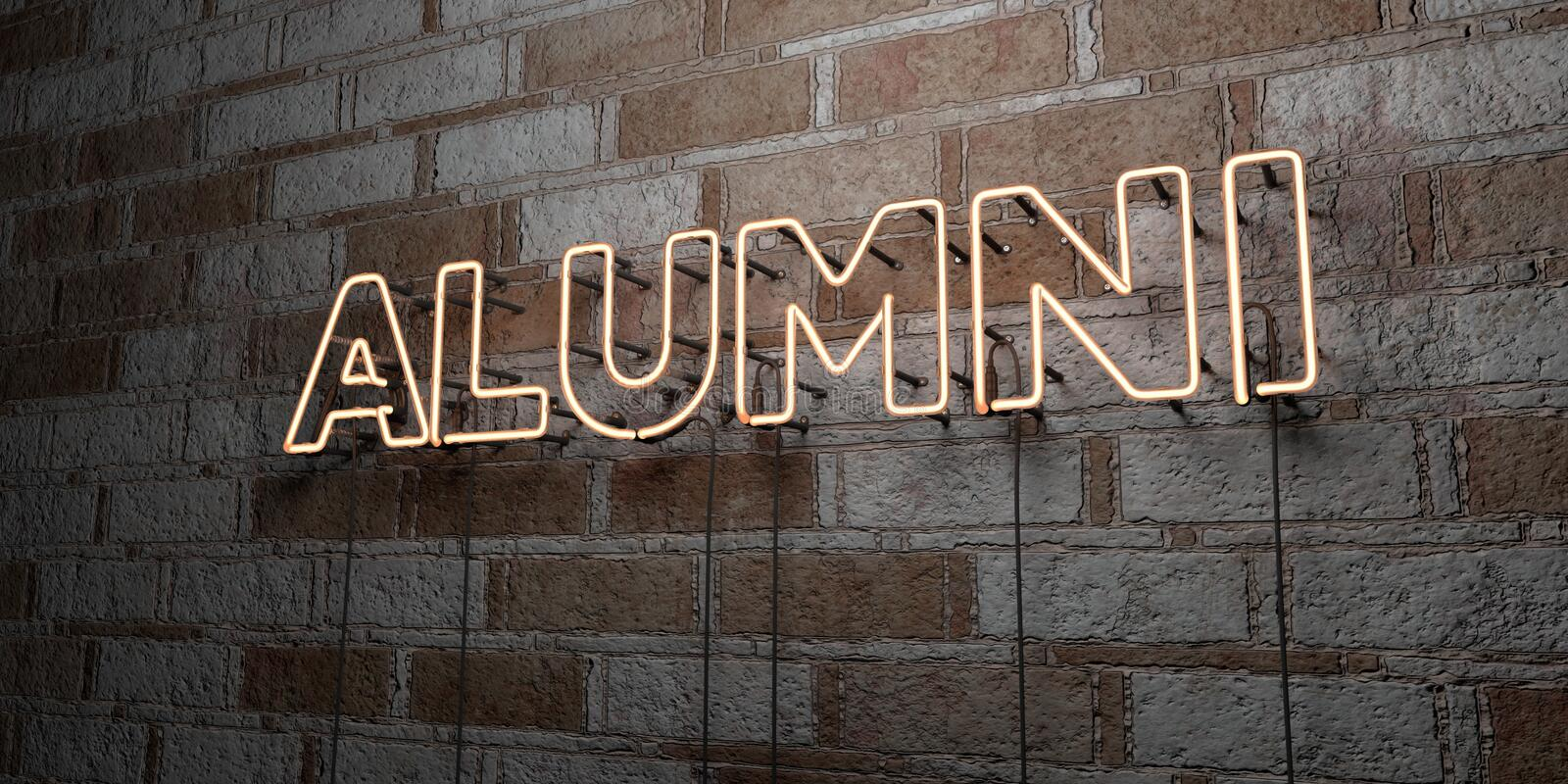 ALUMNI - Glowing Neon Sign on stonework wall - 3D rendered royalty free stock illustration. Can be used for online banner ads and direct mailers royalty free illustration
