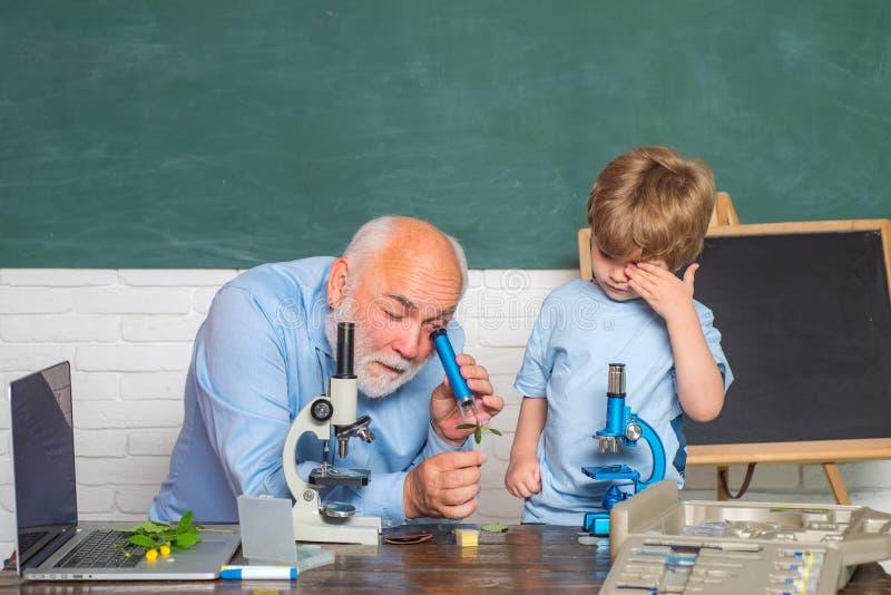 Alumno que estudia en la sala de clase D?a de los profesores El ense?ar casero Aliste para la escuela De nuevo a escuela y a tiem imagen de archivo