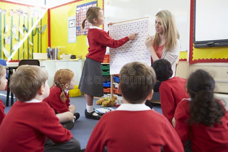Alumnos de la escuela primaria de Teaching Maths To del profesor imagen de archivo