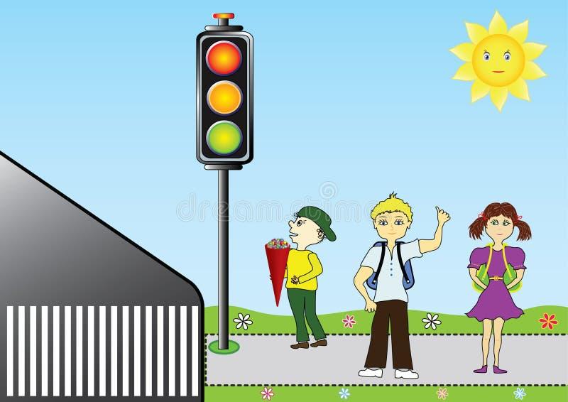 Alumnos en un semáforo libre illustration