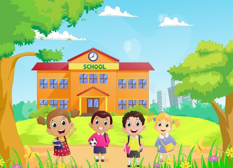 Alumnos felices delante de la construcción de escuelas stock de ilustración