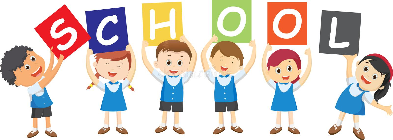 Alumnos felices que llevan a cabo al tablero Concepto de la escuela stock de ilustración