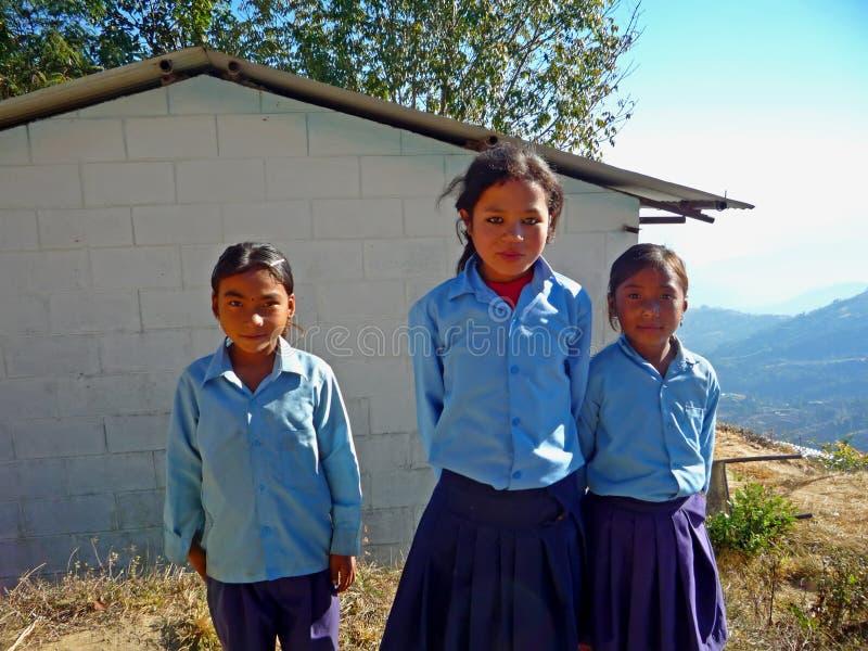 Alumnos nepaleses fotografía de archivo