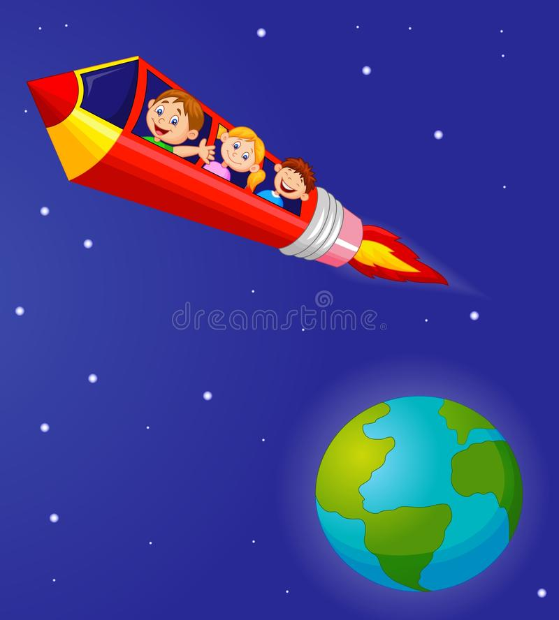 Alumnos que gozan del lápiz Rocket Ride ilustración del vector