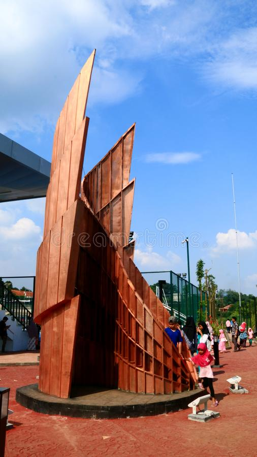 Alun Alun Depok. Depok, Indonesia - April 14, 2019: Visitors take pictures at Alun-Alun Depok green open space in Grand Depok City, West Java royalty free stock images