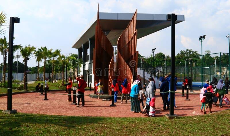 Alun-alun Depok. Depok, Indonesia - April 14, 2019: Visitors  at Alun-Alun Depok green open space in Grand Depok City, West Java stock images