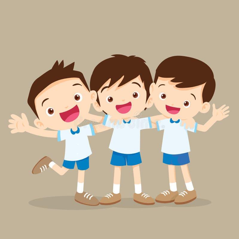 Aluno de três meninos que abraça e que sorri ilustração do vetor