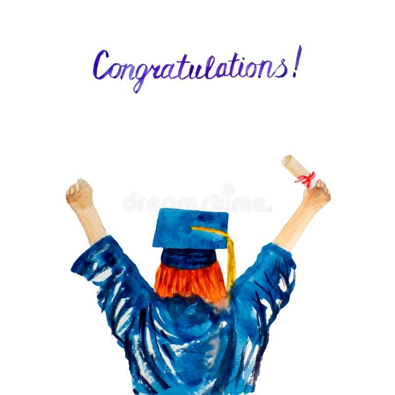 Aluno diplomado da aquarela Jovem mulher tirada mão em um tampão da graduação e envoltório com um diploma da universidade imagens de stock royalty free