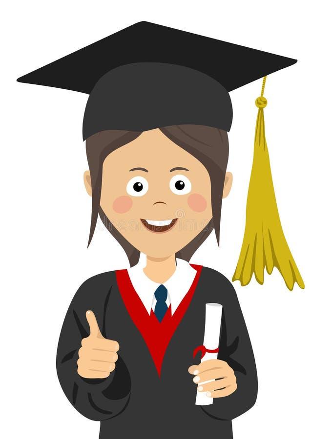 Aluno diplomado da moça no tampão da graduação e envoltório com um diploma da universidade em sua mão que dá os polegares acima ilustração stock