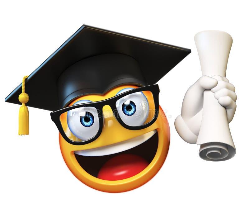 Aluno diplomado de Emoji isolado no fundo branco, tampão vestindo da graduação do emoticon que guarda o diploma ilustração royalty free