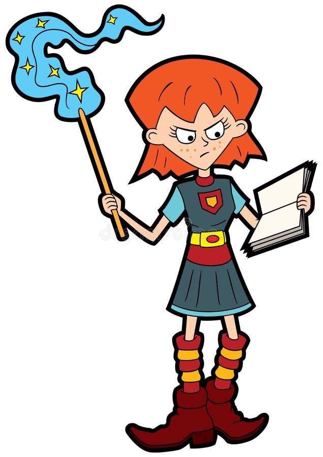 Aluno mágico da escola da menina ilustração stock