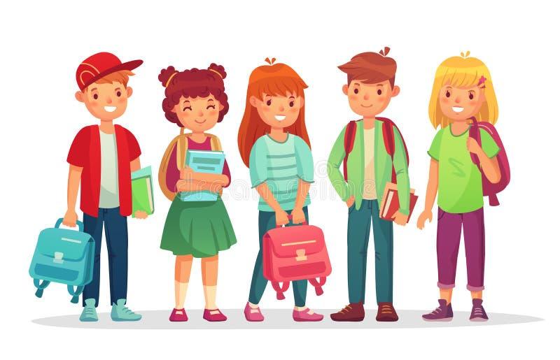 Alunos adolescentes do grupo Estudantes dos adolescentes dos meninos e das meninas de escola com trouxa e livros Caçoa o aluno qu ilustração royalty free