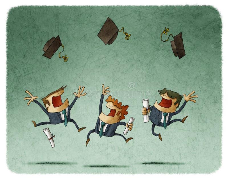 Alunos alegres que saltam com seu tampão no ar ilustração do vetor