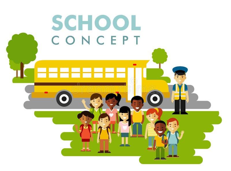 Alunos diferentes e conceito do ônibus no estilo liso ilustração do vetor