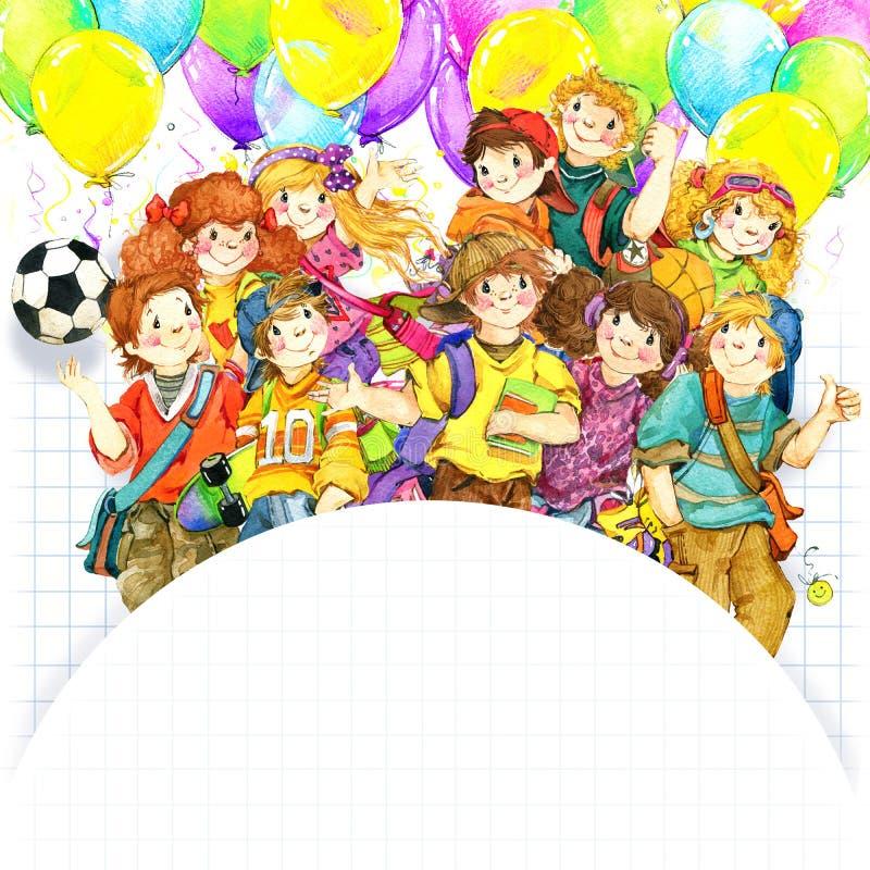 Alunos e de volta ao fundo da escola para a ilustração da aquarela da celebração ilustração royalty free