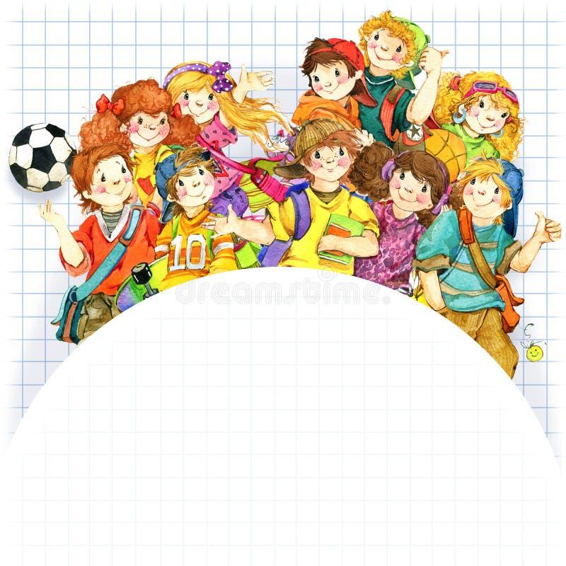 Alunos e de volta ao fundo da escola para a ilustração da aquarela da celebração ilustração stock