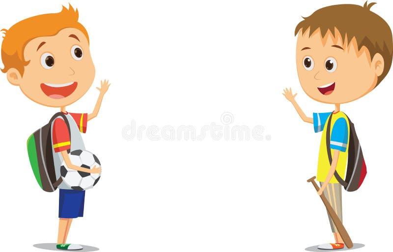Alunos elementares felizes que acenam após a escola ilustração royalty free