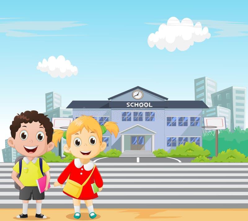Alunos felizes que estão na frente da escola De volta ao conceito da escola ilustração royalty free