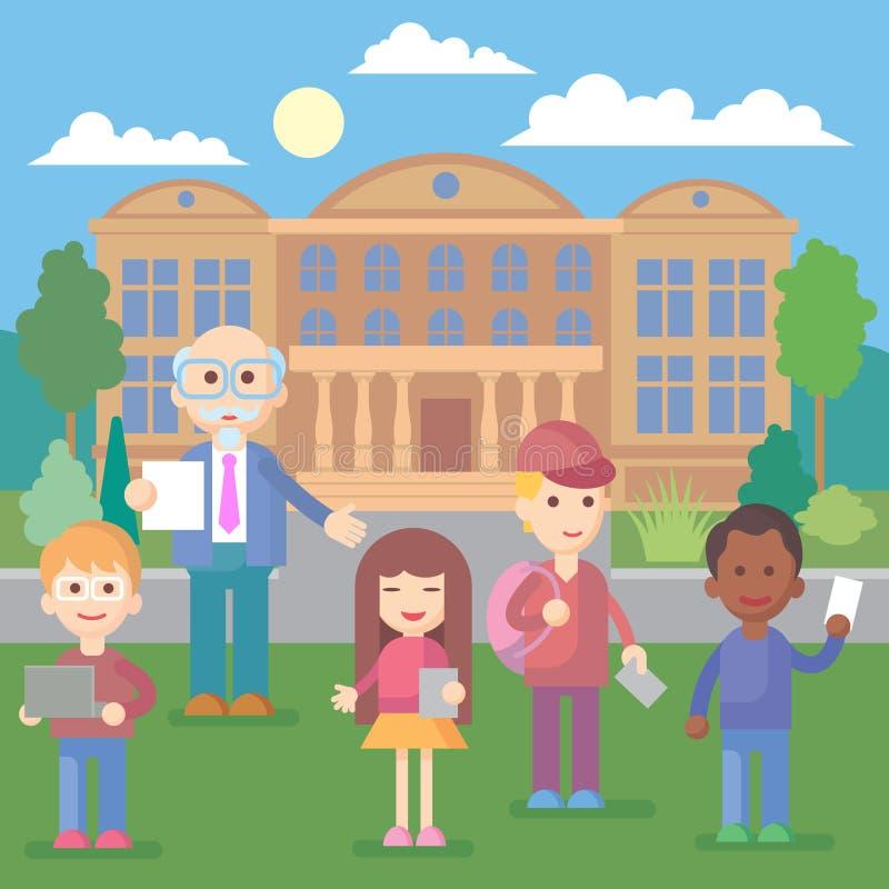 Alunos felizes que estão na frente do prédio da escola ilustração do vetor