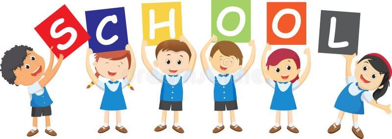 Alunos felizes que guardam a placa Conceito da escola ilustração stock