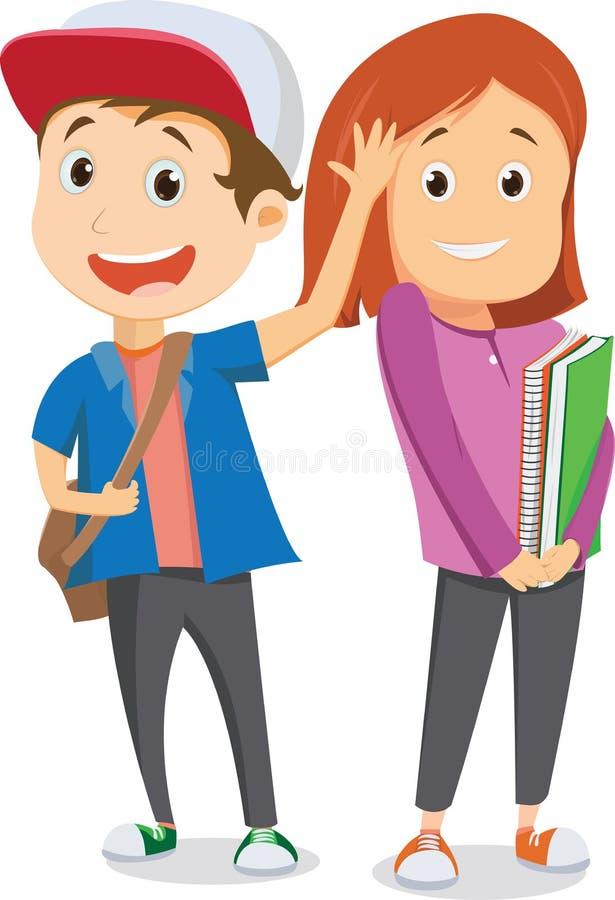 Alunos felizes que vão à escola e que acenam adeus De volta ao conceito da escola ilustração do vetor