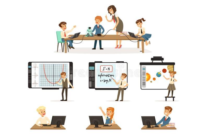 Alunos grupo na lição da informática e da programação, crianças que trabalham nos computadores, aprendendo a robótica e ilustração do vetor