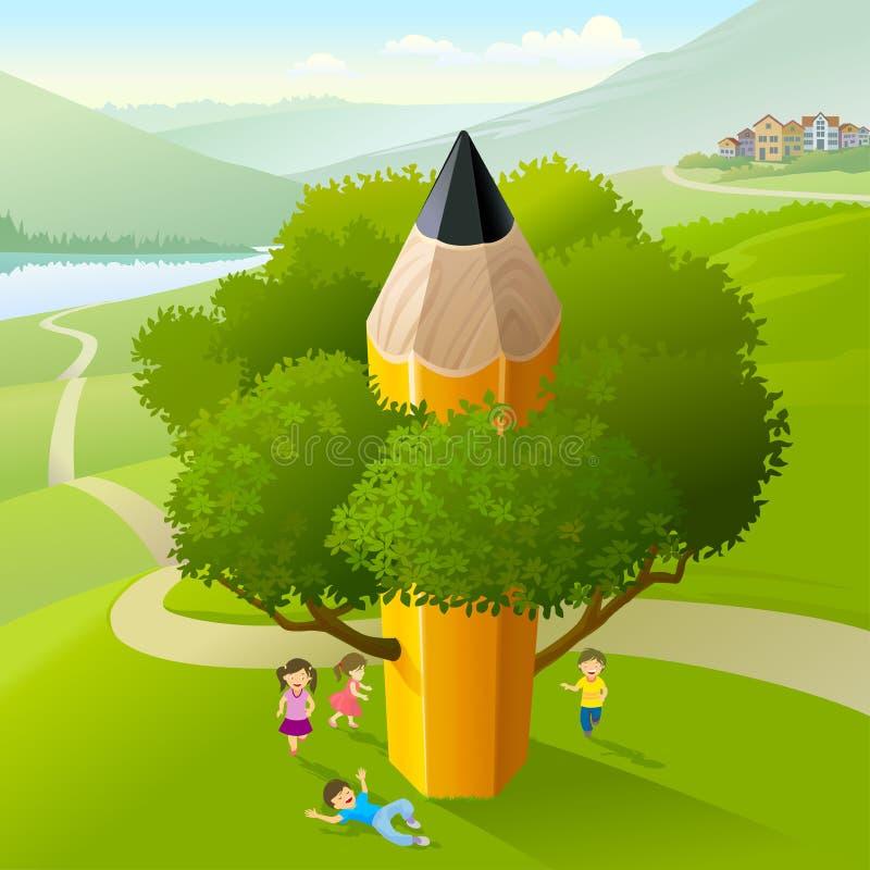 Alunos que jogam sob a árvore do lápis ilustração do vetor