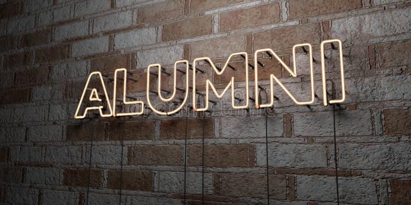 ALUNOS - Sinal de néon de incandescência na parede da alvenaria - 3D rendeu a ilustração conservada em estoque livre dos direitos ilustração royalty free