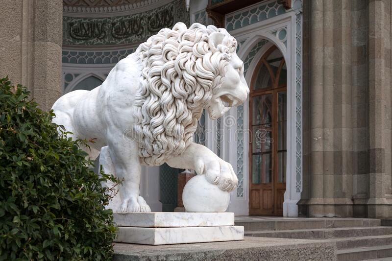 A lion statue on a south terrace of the Vorontsov`s Palace royalty free stock images