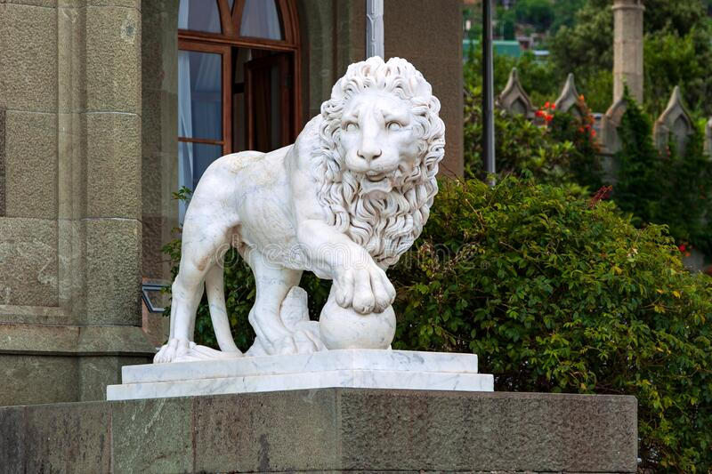 A lion statue on a south terrace of the Vorontsov`s Palace stock images